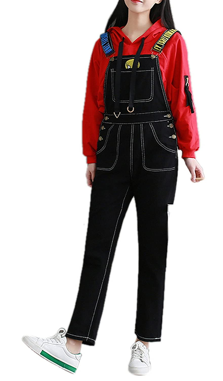 Tengfu Women's Juniors Denim Stretch Adjustable Strap Overall Sleeveless Jumpsuit