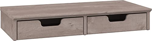 Bush Furniture Key West Desktop Organizer with Drawers in Washed Gray
