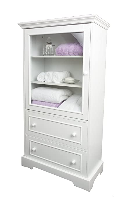 White Wood Linen Cabinet With Glazed Door And Two Drawers   Storage    Bathroom   Bedroom