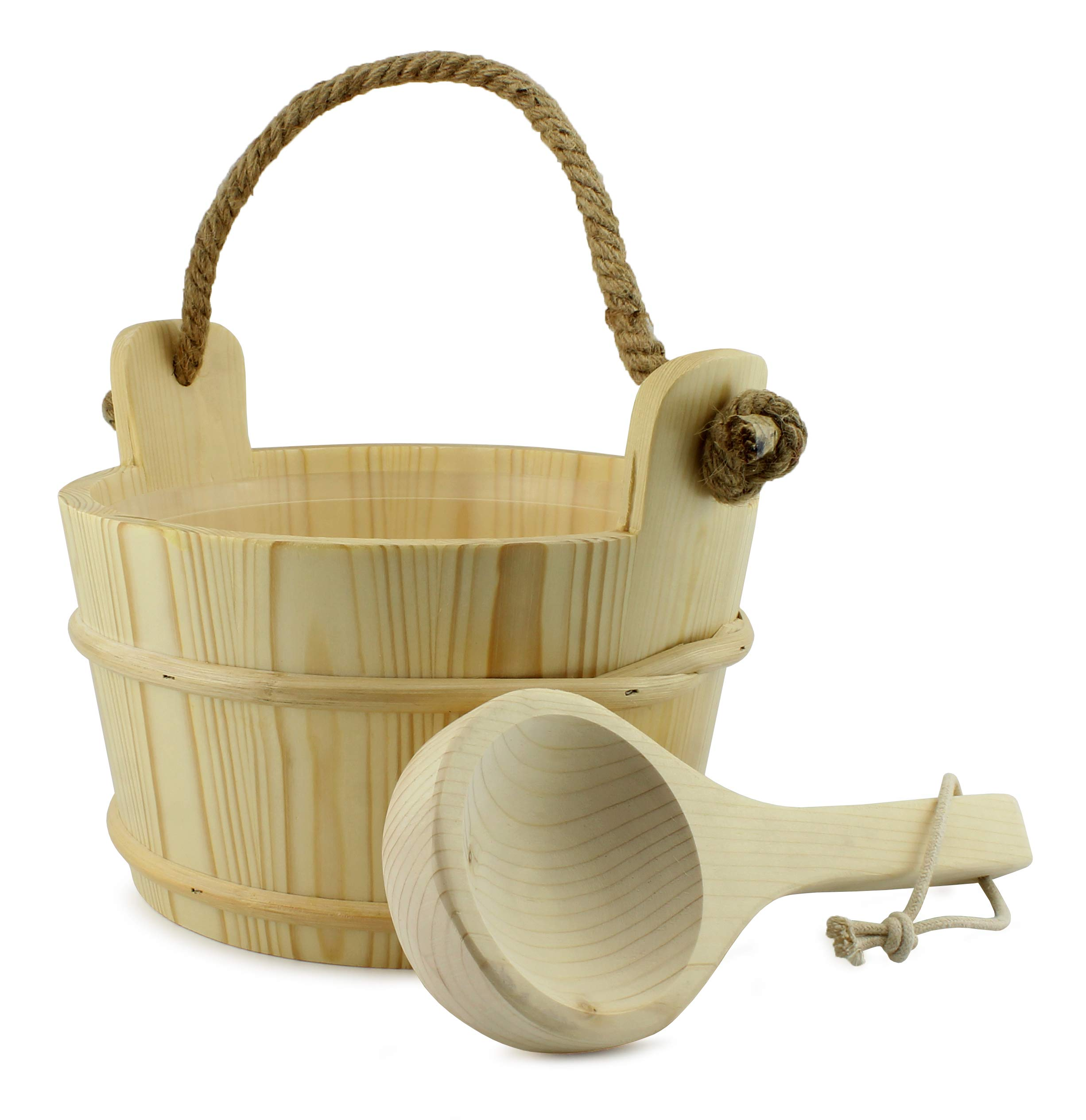 Cornucopia Wooden Sauna Bucket with Ladle, Pinewood Pail with Rope Handle and Liner with Matching Wooden Spoon by Cornucopia Brands