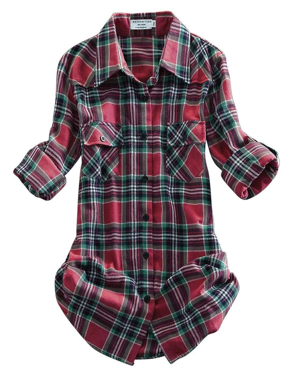 2021 Checks 14 Match Women's Long Sleeve Flannel Plaid Shirt
