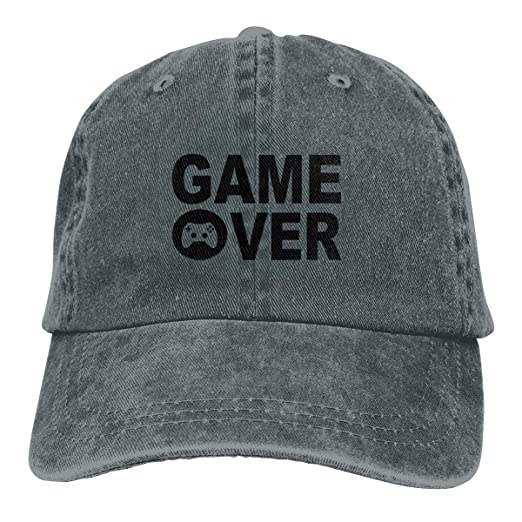 Amazon.com  Game Over Classic Vintage Washed Denim Caps Adjustable ... 1b603808318