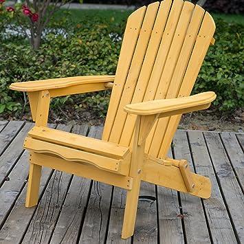 Leisure Zone - Sillón de jardín reclinable y plegable tipo Adirondack, de madera