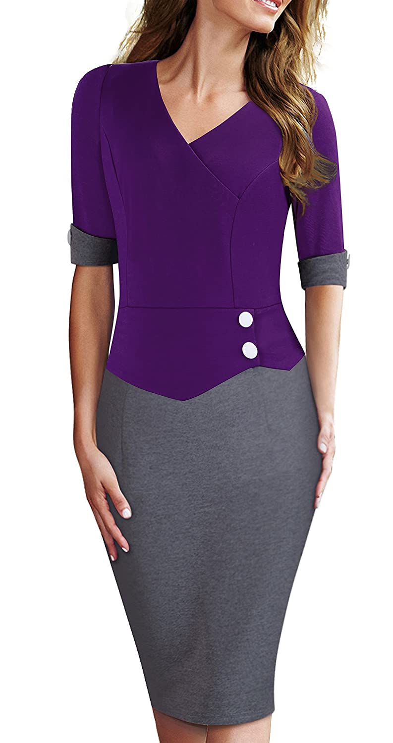 HOMEYEE Women's Official Wear to Work Half Sleeve V Neck Pencil Bodycon Dress B364