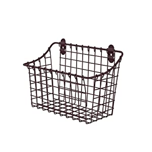 Spectrum Diversified Vintage Wall Mount Storage Basket Large Bronze 3 Ounce