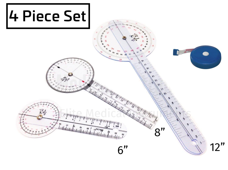 EMI Goniometer 4 Piece Set EGM-429TM - 12'' , 8'' , 6'', and Tape Measure