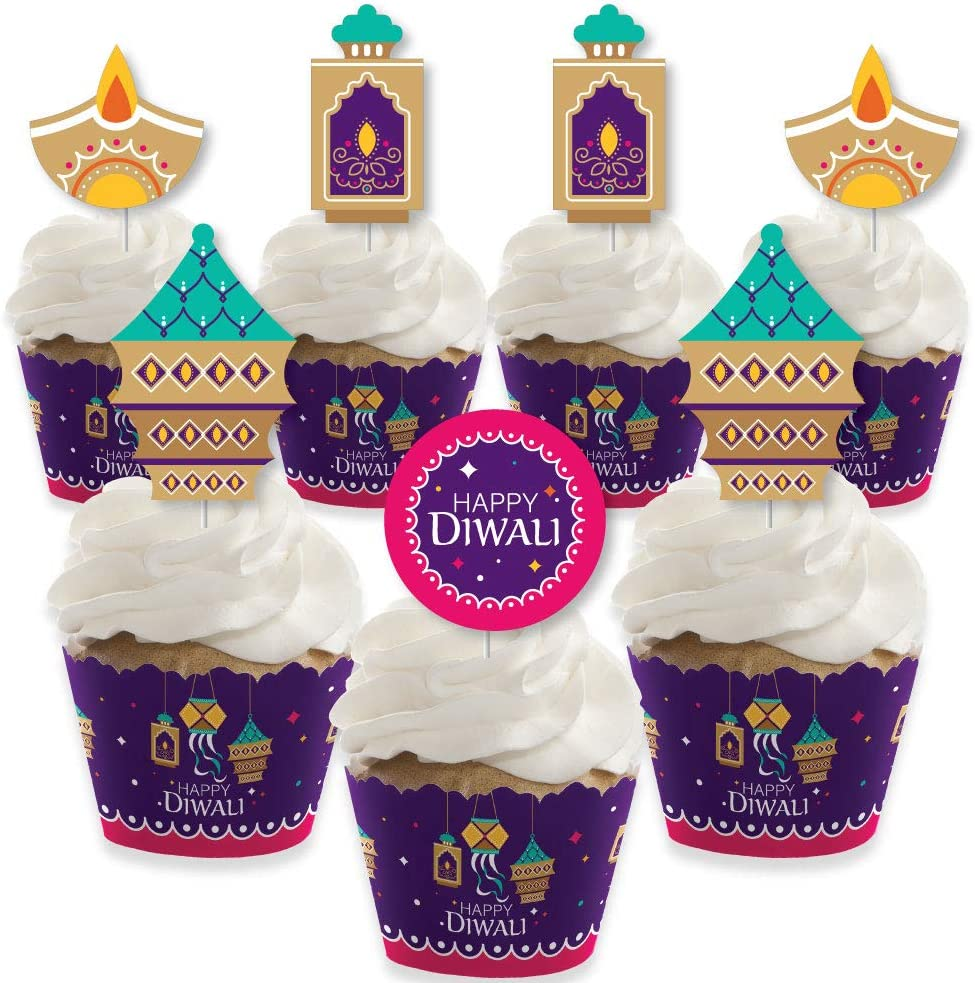 Set of 12 Big Dot of Happiness Happy Diwali Festival of Lights Party Decorations Party Cupcake Wrappers