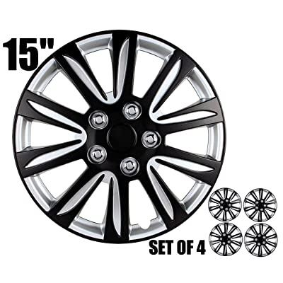"""15 inch Hubcaps - Black and Silver, Marina Bay, Universal Fitment 15"""", Easy to Install (Set of 4): Automotive"""