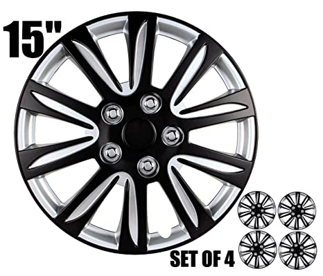 Amazon.com: 15 inch Hubcaps - Black and Silver,Marina Bay, Universal Fitment 15
