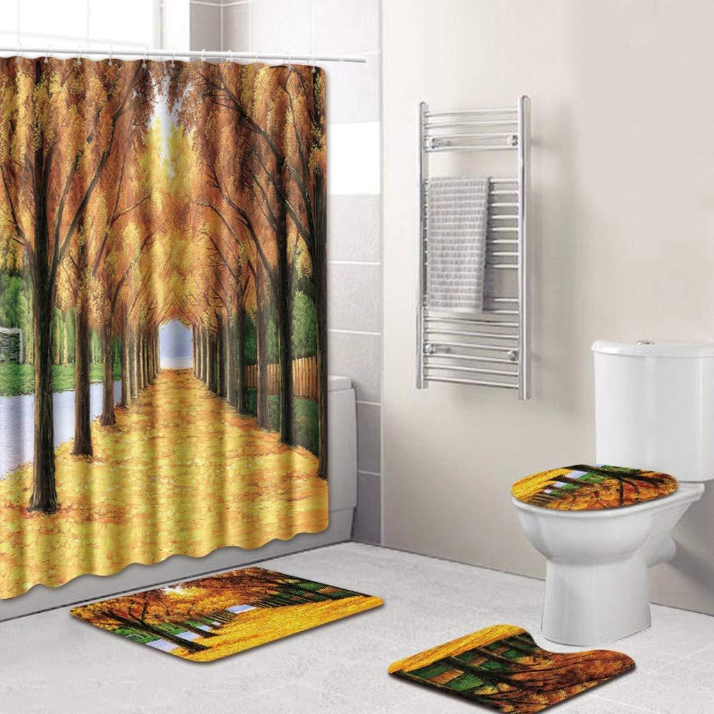 CYHY Pflanzen Landschaft 4-teiliges Badezimmer-Set, WC Deckel Abdeckung Sockel WC Bad Rutschfeste Teppich Teppich und wasserdichter Duschvorhang mit 12 Haken (Farbe   3, Größe   19.7  x 31.5) B07QHLSD9G Duschmatten