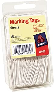 "Avery White Marking Tags, Strung, 1-3/4"" x 1-3/32"", Pack of 100 (11062)"