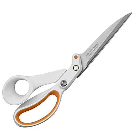Fiskars Razor Edge Tijeras multiuso, Longitud: 24 cm, Acero inoxidable/Plástico, Blanco/Naranja, Amplify, 1005225
