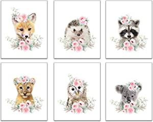 Woodland Animals Flower Art Print Flowers Crown Nursery Quotes Art Prints Art Set of 6(8x10 Canvas Picture) Kids Baby Girl Room Wall Decor Poster for Kids Bedroom Home Decor Unframed