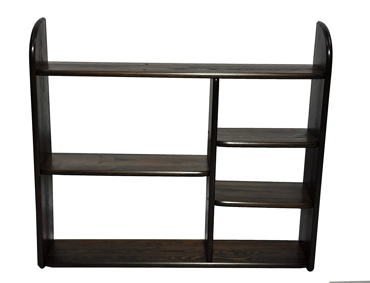 Solid Pine Bookcase Wall Shelf Rack Pine H 90 x B 100 x T 20 cm (walnut) Magnetic Mobel