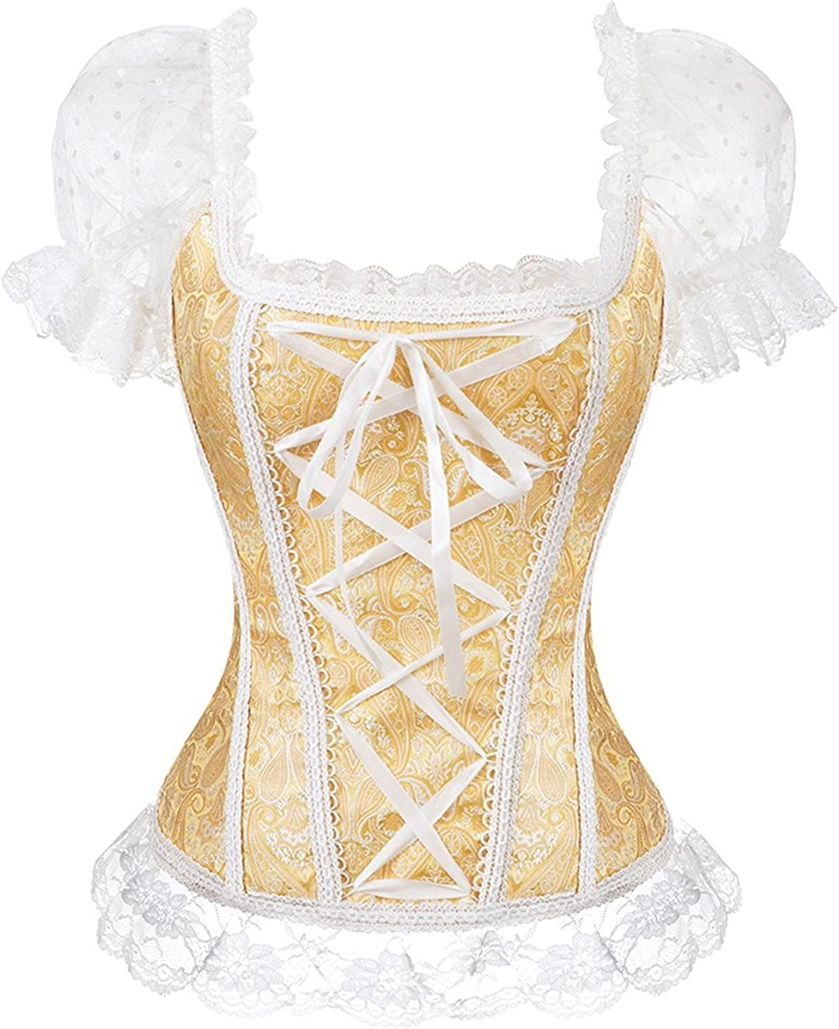 Blidece Gothic Tapestry Lace up Boned Corset Overbust Bustier with Lace Sleeves