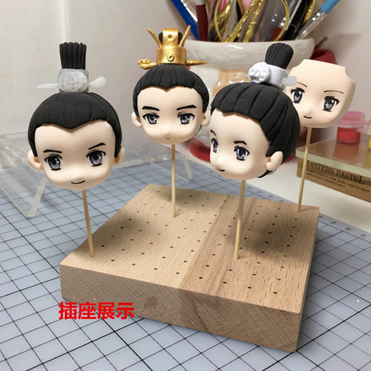 WellieSTR Wooden Model Color Base Modeling Tools Hobby Painting Tools Accessory For Sculpture Clay Pottery Plate