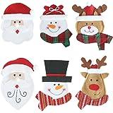 OUNONA 6pcs Navidad Silverware Soportes, Cuchillo y Tenedor Bolsa para Navidad Cocina/Vajilla/