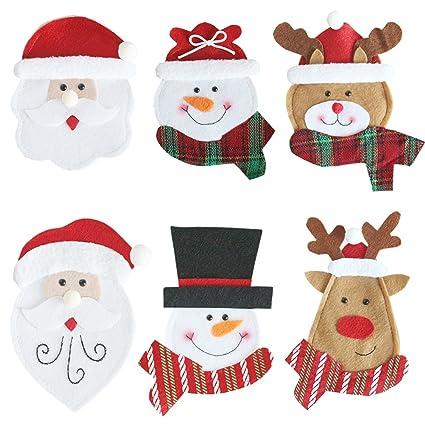 BESTOMZ Decoracion Navidad Adornos Navideños Papa Noel Muñeco de Nieve Renos Porta Cubiertos 6 Unidades