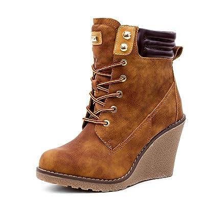 Marimo Stylische Damen Worker Boots Schnür Stiefeletten mit Keilabsatz   Amazon.de  Schuhe   Handtaschen 93f0ba1f8e