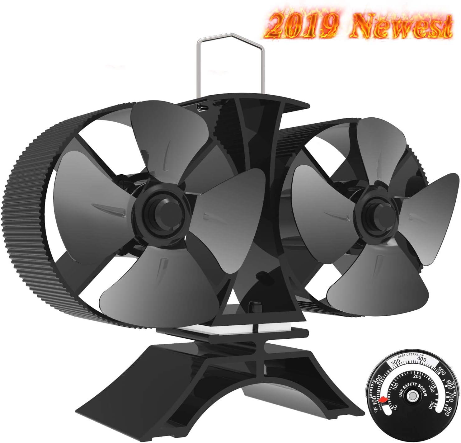 Pequeño Ventilador de la estufa - 8-cuchilla Motor Gemelo Ventilador de Estufa,Ventilador Chimenea para Madera/Estufa de Leña/Chimenea,Silencio,con Termómetro Magnético[Clase energética A +++]