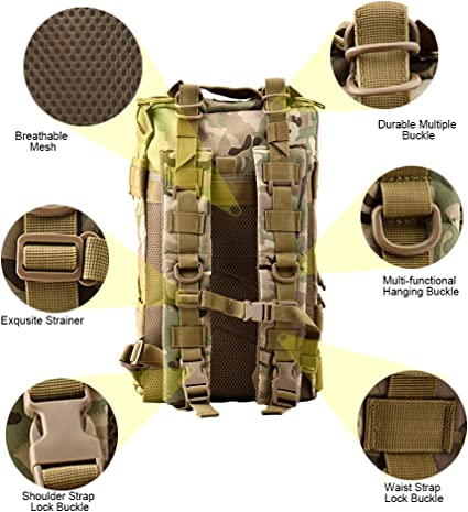5 Colores TOPQSC Mochila Militar Impermeable de Moda 28L//45L para Excursionismo Monta/ñismo y Viaje al Aire Libre Mochila Deportiva