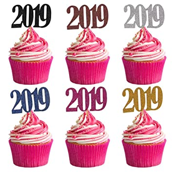 60 pack 2019 number cupcake toppers cake insert cards for kids birthday christmas happy new