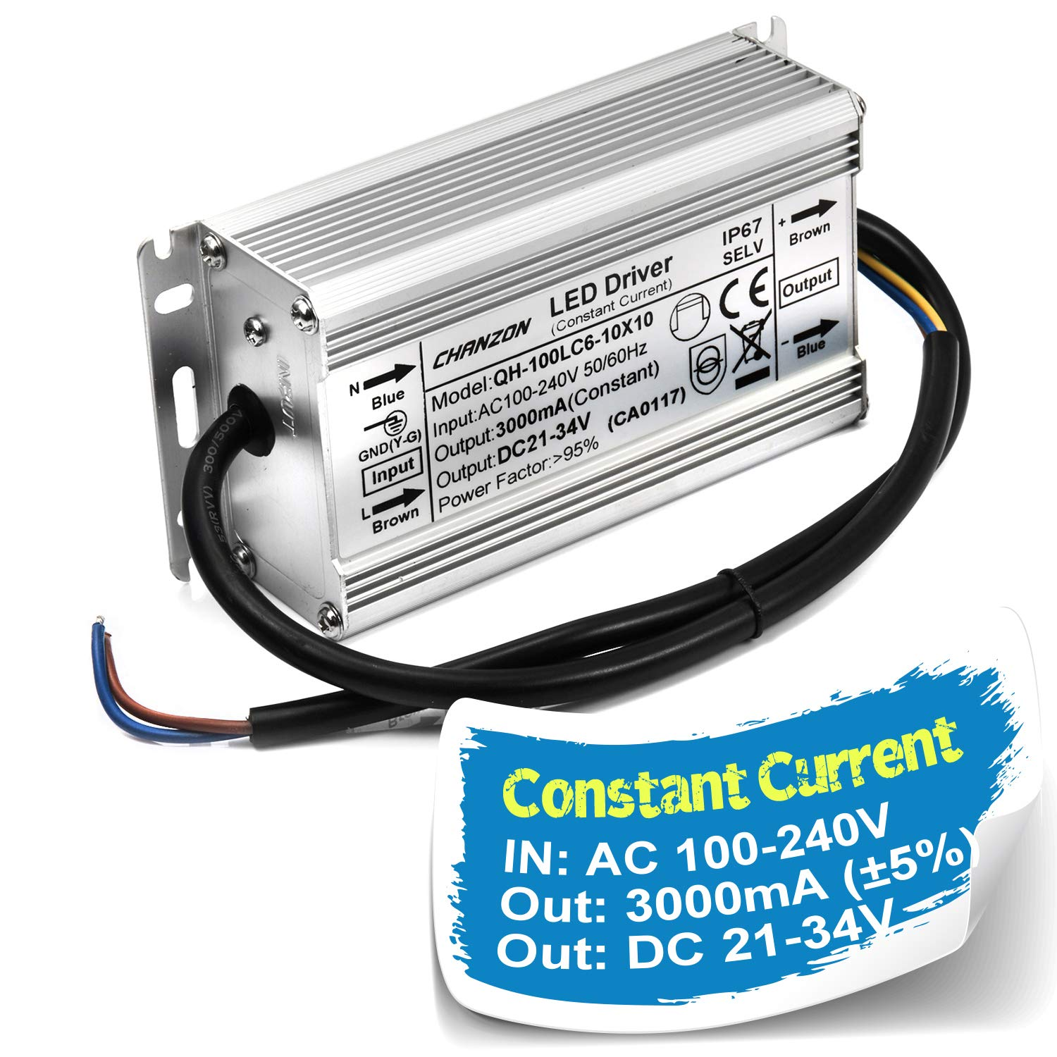 Chanzon LED Driver 3000mA (Constant Current Output) 21V-34V (In 110V-240V AC-DC) 100W IP67 Waterproof High Power Supply 3000 mA Lighting Transformer for 100 W COB Chips (Aluminium)