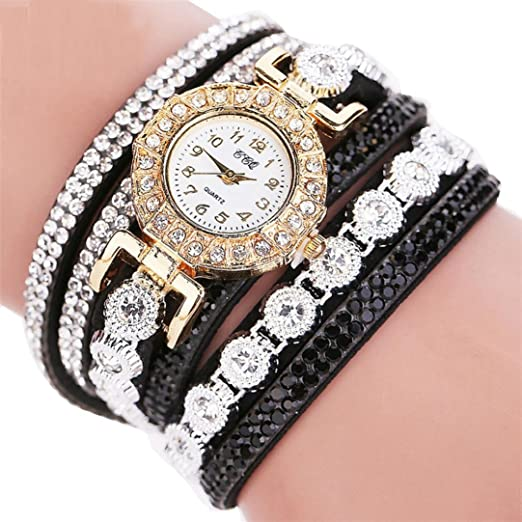 Womens Watch,Boho Wrap Around Rhinestone Bracelet Analog Quartz Business Wristwatch Axchongery (Black)