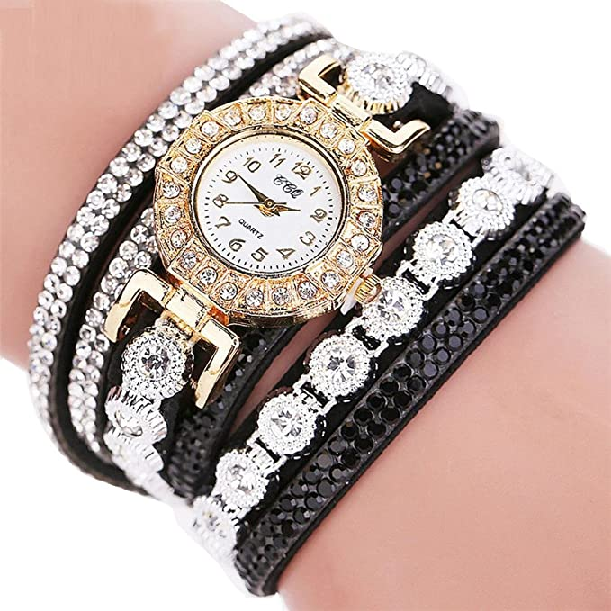 Amazon.com: Womens Watch,Boho Wrap Around Rhinestone Bracelet Analog Quartz Business Wristwatch Axchongery (Black): Clothing