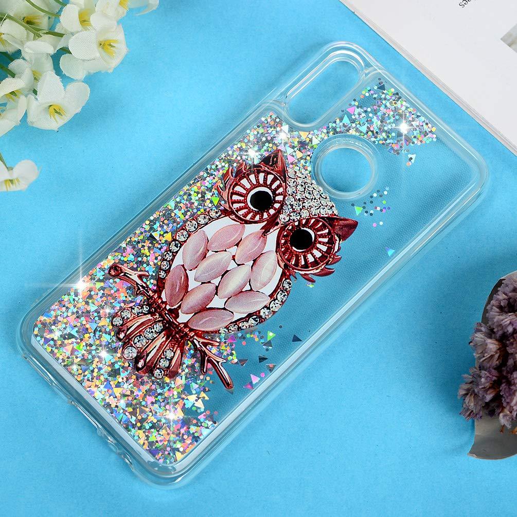 Fleur Diamant Coque pour Huawei Honor 10 Lite//P Smart 2019 Etui Bling Silicone Sables Mouvants TPU Quicksand Souple Protecteur Housse El/égant