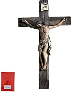 Jesus Nailed On The Cross Resin Wall Crucifix for Home Decoration and Great for Gifts and Hanging Hardware Bundle