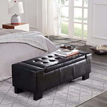 Belleze 51-inch Storage Ottoman Bench Black Faux Leather Large Rectangular Tufted