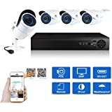 JOOAN 4CH 1.3MP NVR Kit 960P POE Camera System HD Security IP Camera System CCTV Monitor System Complete Surveillance Network Camera System Home Video Camera System