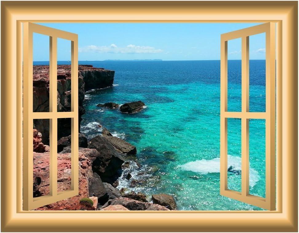 VWAQ Beach Scene Window Wall Decal Nature Decor Bedroom Wall Sticker Peel
