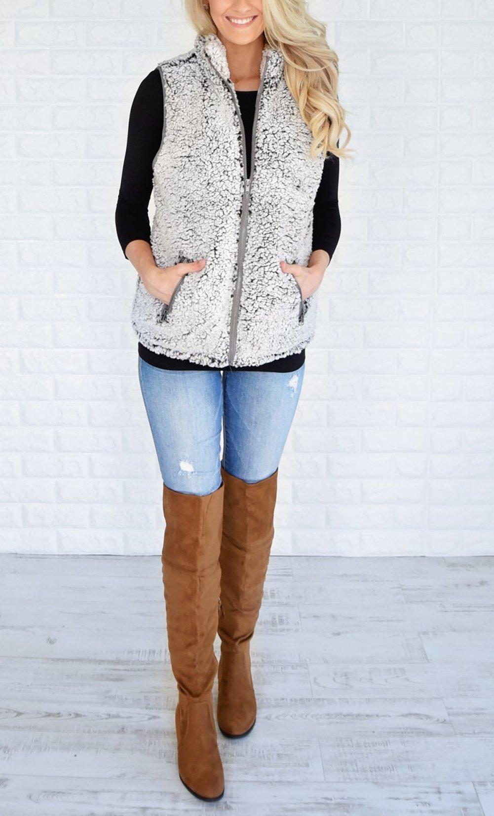 MEROKEETY Women's Casual Sherpa Fleece Lightweight Fall Warm Zipper Vest Pockets by MEROKEETY (Image #4)
