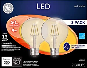 GE Lighting 23192 Clear Finish Light Bulb Dimmable LED G25 Decorative Globe 4 (40-Watt Replacement), Energy-Star Rated, 350-Lumen Medium Base, 2-Pack, Soft White, 2 Piece