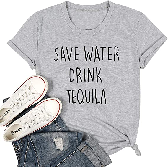 LUKYCILD Funny Drinking Shirts for Women Save Water Drink Tequila Cute Graphic Print Tshirts Shirts