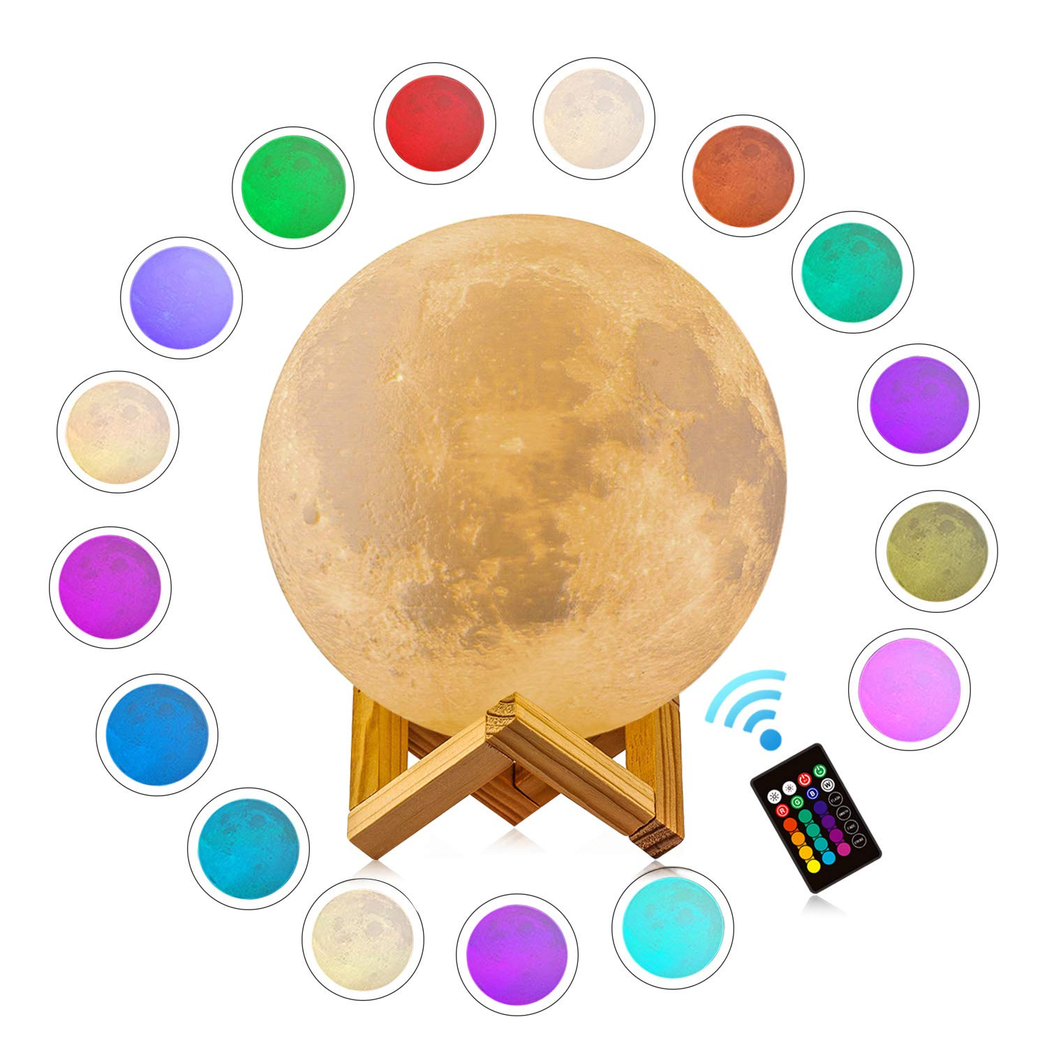 3D Moon Lamp - 16 LED Colors, Dimmable, Rechargeable Lunar Night Light (Large, 7.1 inch) Full Set with Wooden Stand, Remote/Touch Control - Magical Decor for Baby, Kids Bedroom, Fathers Day Gifts
