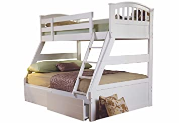 Sweet Dreams Epsom White Triple Bunk Bed Include Underbed Drawers