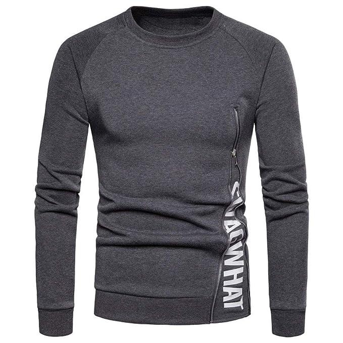 ♚ Cremallera de la Camisa de los Hombres, Camisas de Manga Larga para Hombre Camisa Ajustada con Cremallera y Blusa Tops Camiseta Absolute: Amazon.es: Ropa ...
