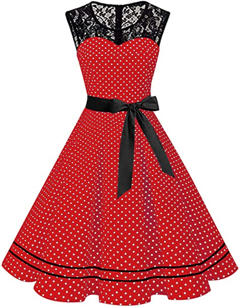 Misshow Damen Elegant 1950er Rockabilly Kleid Spitzenkleider Polka Dots Retro Vintage Petticoat Kleider Faltenrock Amazon De Bekleidung