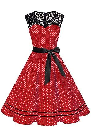 3b91c9966bafdb MisShow Damen 50er Jahre Kleid Gepunkt Spitzen Retro Fasching Kleider  Petticoat Kleider FS3779 Rot S
