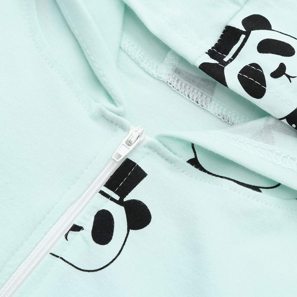 Onefa Infant Baby Unisex Toddler Hooded Romper Cartoon Panda Zipper Clothes Jumpsuit