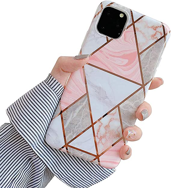 Amazon Com Oifen Iphone 11 Pro Case Rose Gold Marble Clear Bumper Matte Tpu Soft Rubber Silicone Case Pink Triangle