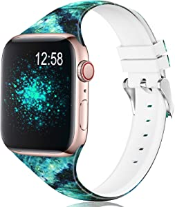 Sport Band Compatible with Apple Watch Bands 38mm 40mm 42mm 44mm Women Men Girl Floral Soft Narrow Thin Silicone Replacement Wristbands Strap with Fadeless Print Pattern for iWatch Series 6 3 5 4 2