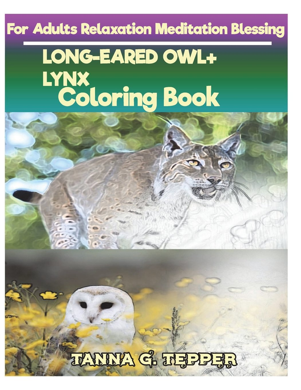 LONG-EARED OWL+LYNX Coloring book for Adults Relaxation Meditation Blessing: Sketch coloring book Grayscale Pictures PDF