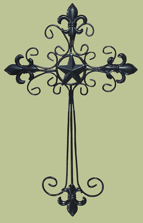 D64054 Fleur de Lis Iron Cross with Stars