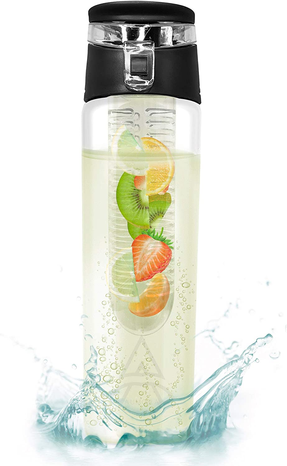 Aumora Fruit Infuser Water Bottle– BPA and EA Free Eastman Tritan Plastic Detox Bottle– Removable Infusing Rod, Easy to Clean,and Convenient to Carry Around– Leak-Proof and Secure–Flip Top Cap (Black)