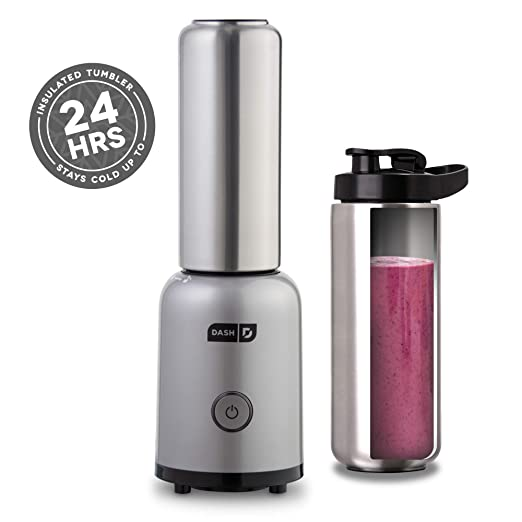 Dash Arctic Chill Blender: The Compact Personal Blender with Insulated Stainless-Steel Tumbler 16 oz + Travel Lid for Coffee Drinks, Frozen Cocktails, ...