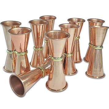 Dungri India Craft ® (Juego de 10) Jigger de cobre macizo de plomo Premium